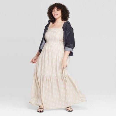 Women\'s Plus Size Sleeveless Square Neck Tiered Maxi Dress ...