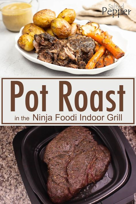 Make the perfect pot roast in the Ninja Foodi Indoor Grill! Directions for both traditional and low carb in the recipe post. Perfect Pot Roast, Easy Pot Roast, Chuck Roast Recipes, Pot Roast Recipes, Healthy Grilling Recipes, Grill Recipes, Juicer Recipes, Blender Recipes, Salad Recipes