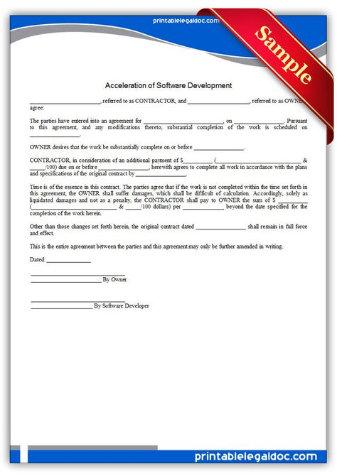 Printable Software Development Agreement Template | Printable