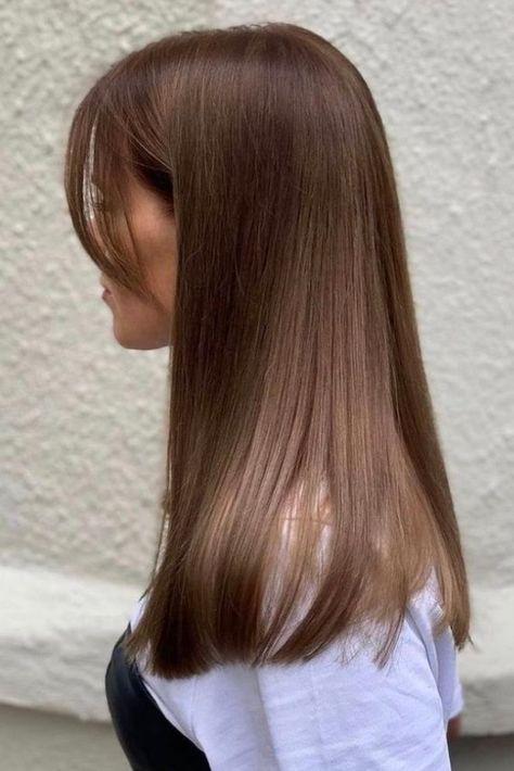 Haircuts For Long Hair Straight, Short Hair With Bangs, Long Hair Cuts, Bangs Long Hair Round Face, Blonde Straight Hair, Haircut Long Hair, Fine Hair Haircuts, Straight Layered Hair, Hair Bangs