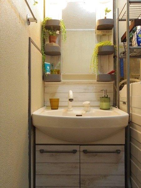 ダイソーリメイクシートとペンキで洗面台をリメイク 洗面台 洗面所