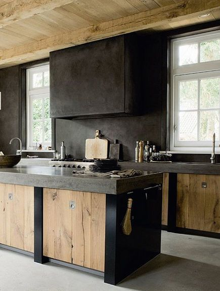 Modern Dutch Kitchen With Weathered Wood Cabinet Doors In The Island   Elle  Interiors Norway