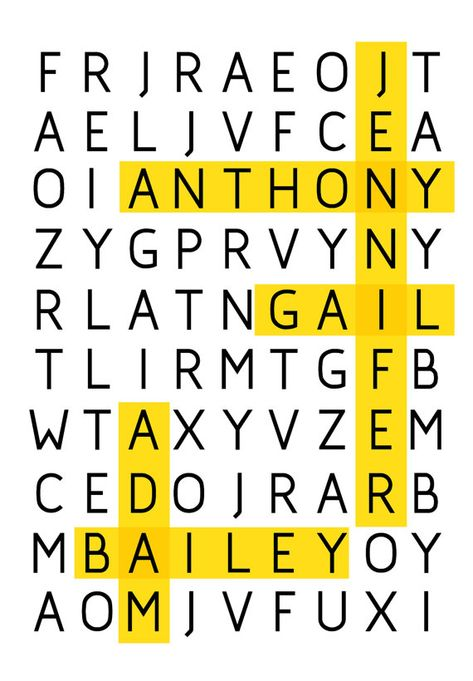 WORD PUZZLE Poster for Family or Friends Great gift Print Typography Art Poster in White - A3 Poster art print - custom Poster personalized