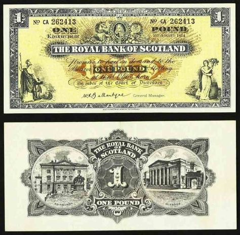 1964 Royal Bank Of Scotland One Pound Banknote Pick Number 325a A Beautiful Extremely Fine Currency Papel Moneda Billetes Del Mundo Y Monedas