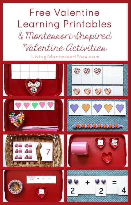 Long list of free valentine learning printables along with ideas for using free printables to create Montessori-inspired valentine activities