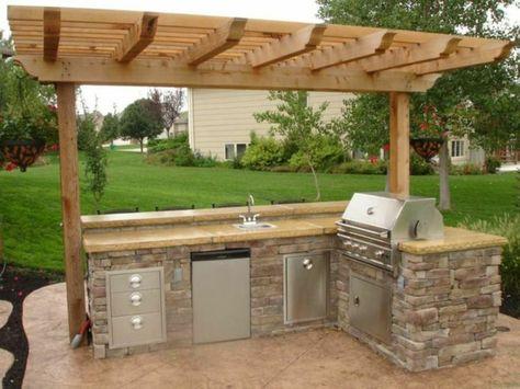 Outdoor Küchen - freistehende Kochinsel aus Naturstein Garten - outdoor küche holz
