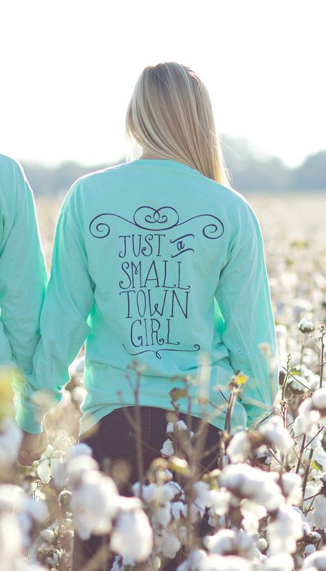 """Use code """"LindseyLunden"""" for a discount at checkout! Kiss My Southern Sass - Just A Small Town Girl Long Sleeve (Mint), $30.00 (http://www.kissmysouthernsass.com/just-a-small-town-girl-long-sleeve-mint/)"""