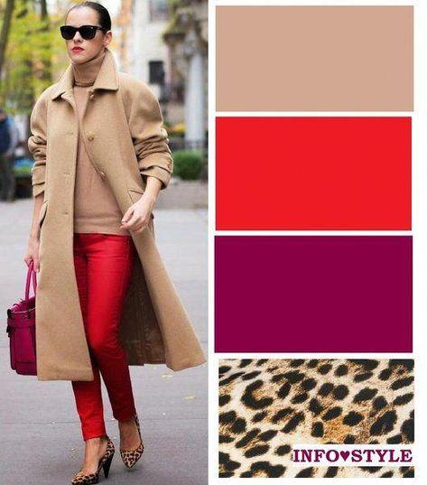 Бежевый успокаивает красный, создавая эффектный образ. #womensfashionideas
