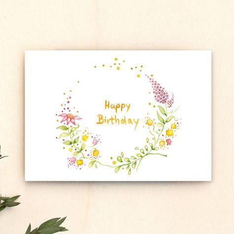 Geburtstagskarte Happy Birthday Aquarell Blumen Kranz