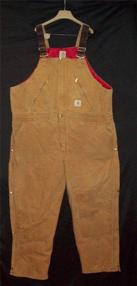 Carhartt Insulated Coveralls Bibs Men's 48-30 Brown Duck Quilt Lined Overalls #Carhartt