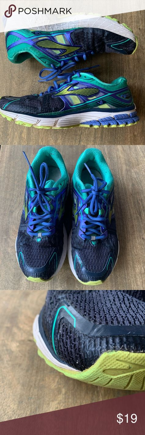 Brioks Revenna DNA 6 running shoes size 8 Brooks Revenna DNA VI running shoes. Used condition. Show signs of wear but lots of life left in these. Fun color combo. New gel shock absorbing insoles. Great second pair/ backup  running/ walking shoes to leave at the office or gym. Brooks Shoes Sneakers