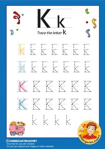 Trace The Letter K For Kindergarten Kindergarten Expert Free Printable In 2020 Alphabet Writing Worksheets Lettering Alphabet Writing