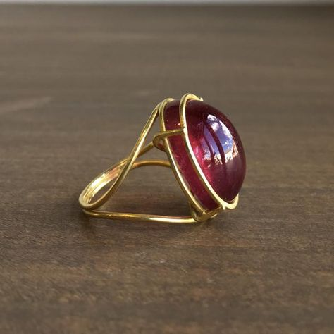 Rosanne Pugliese Cage Set Rubellite Cabochon Ring