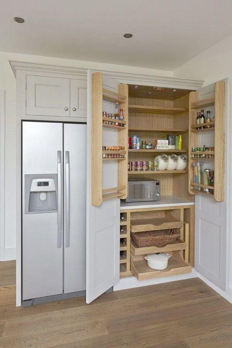 Casual Home Kitchen Island With Solid American Hardwood Top Kitchen Larder Kitchen Design Kitchen Cabinet Storage