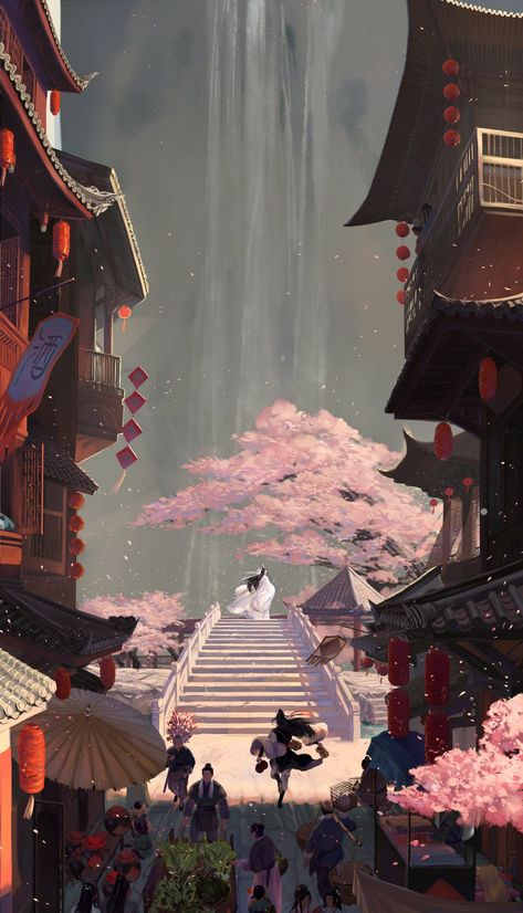 anime phone wallpaper HB to lanzhan and happy lunar new year to everyone Free to ues as phone wallpaper Fantasy Art Landscapes, Fantasy Landscape, Fantasy Artwork, Landscape Design, Landscape Art, Animes Wallpapers, Cute Wallpapers, Aesthetic Art, Aesthetic Anime
