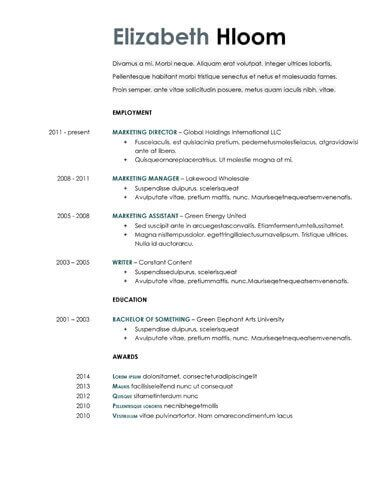 Google Docs Resume Template Free Resume Templates