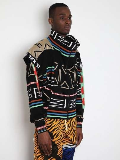 Bernhard Willhelm Men's Who's BW Hey Hooded Sweat in black / multi at oki-ni
