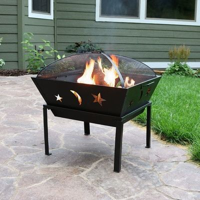 Sunnydaze 22 Inch Outdoor Square Stars And Moons Fire Pit With Spark Screen Fire Pit Wood Burning Fire Pit Outdoor