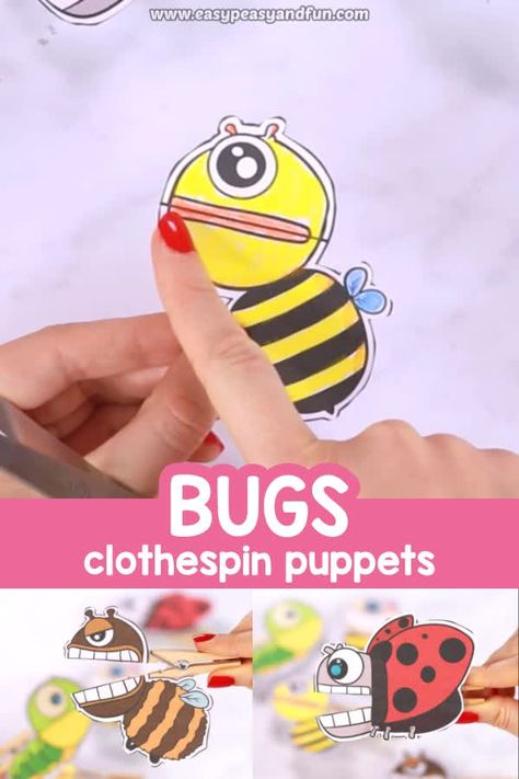 Using clothespins to hang the laundry might be boring but making clothspin crafts, especially these bugs clothespin puppets is insanely fun.