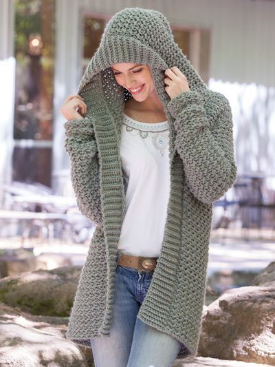 56f92ffbbe7 Weekend Casual Hooded Sweater Crochet Pattern | Crochet | Knitting ...