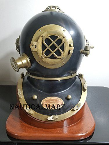 18 Inch US Navy Diving Helmet Mark V Deep Sea Divers Helmet With Wooden Base