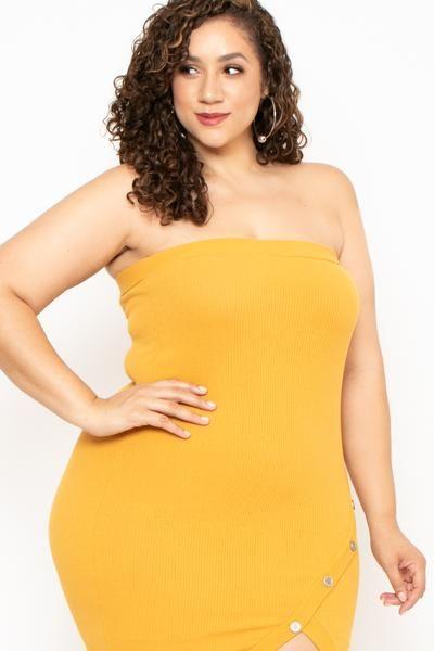 Plus Size Tube Envelope Hem Dress - Mustard | AkvErica ...