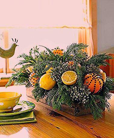 Centre De Table De Noel Fait Avec Branches Sapin Orange Citron