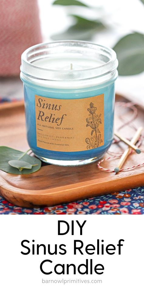 This DIY Sinus Relief Candle will help open your nasal passages with a calming and relaxing scent. Natural Candles, Soy Wax Candles, Candle Wax, Jar Candles, Diy Marble, Velas Diy, Tapas, Homemade Scented Candles, Diy Candles Easy