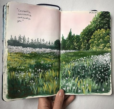art, aesthetic i nature grafika w We Heart It Art Journal Inspiration, Art Painting, Sketches, Art Drawings, Drawings, Gouache Art, Painting Art Projects, Book Art, Aesthetic Art