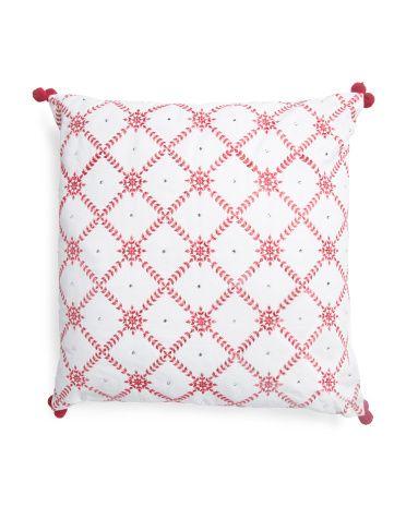 20x20 Rhinestone Snowflake Pillow Snowflake Pillow Throw