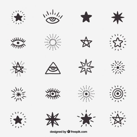 Cute drawings of symbols and stars Free Vector