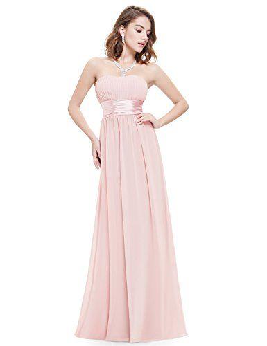 51220e2063d Ever Pretty Robe de Soirée Robe de demoiselle d honneur Longue Femme sans  Manche Bustier 38 Rose