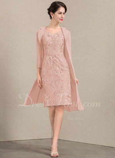 SheathColumn V neck Knee Length Lace Mother of the Bride