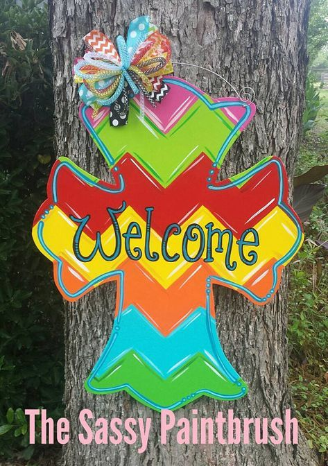 25 X 22 Inches This Colorful Chevron Cross Is Great For Spring And Summer Personalization Available And C Cross Door Hangers Wooden Door Hangers Door Hangers