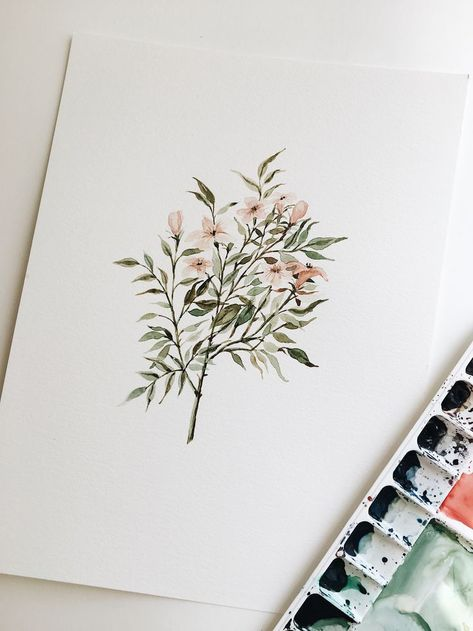 Delicate Floral Branch Watercolor Painting - 9 x 12 - ORIGINAL - #artsy #Branch #Delicate #Floral #Original #painting #Watercolor