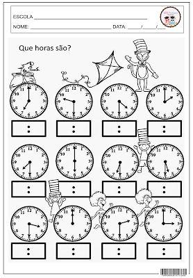 Que Horas Sao Atividades De Matematica Divertidas Atividades