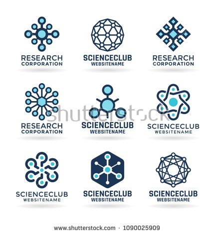 Science Logo Atom And Molecule Icons Chemistry Logotype Templates Science Blog Science Science Icons