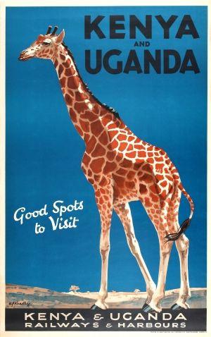 Vintage Travel Poster - Kenya and Uganda - Giraffe -  by Kealey - 1920s.