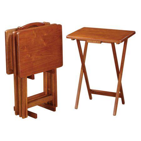 Cool Coaster 5 Piece Tray Table Set Golden Brown Finish Lamtechconsult Wood Chair Design Ideas Lamtechconsultcom