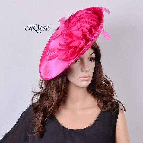 dc9f707c8bb8d Fuchsia hot pink High quality Formal dress Satin hat saucer sinamay  fascinator with feathers for Ken