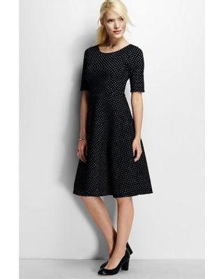 aafa9e1b LandsEnd Lands' End Women's Petite Elbow Sleeve Ponte A-line Dress - Black  Jacquard from Lands' End | ShapeShop