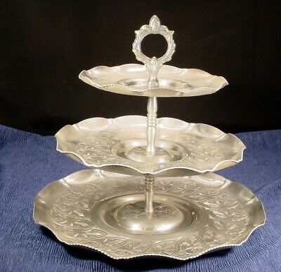 Vintage 3 Tier Aluminum Serving Dessert Tray With Ornate Handle Dessert Tray Tiered Ornate