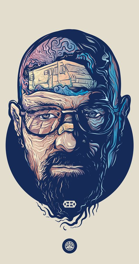 Love this illustration of Walter White from Breaking Bad by Adipurba, check out more of his work! Walter White, Vector Portrait, Digital Portrait, Dope Art, Trippy, Vector Art, Concept Art, Street Art, Illustration Art