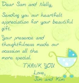 note #wordings Thank you note wordings for attending a baby