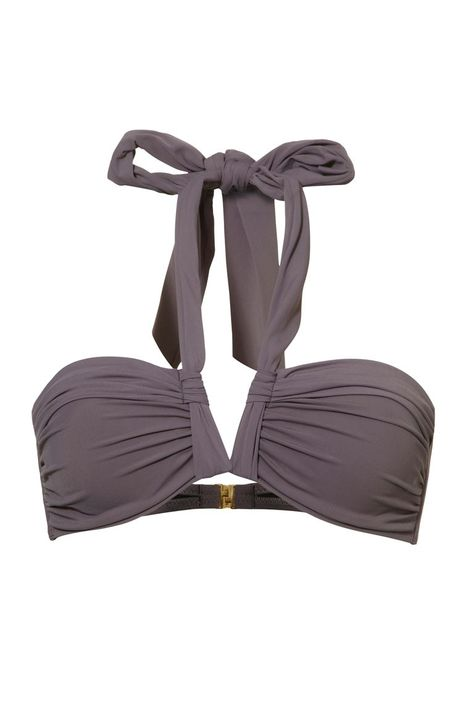 St.Tropez - This pretty grey purple multiway bandeau bikini top comes with bra shells.  You can strap it up as a halter, create a front bow, or tie at the back for a strapless style.