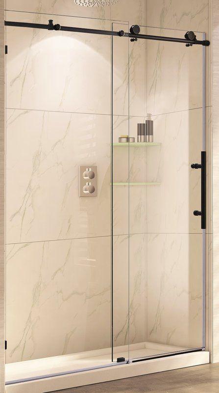 Mocha 48 X 76 Single Sliding Frameless Shower Door Shower Doors Frameless Shower Doors Tub Shower Doors