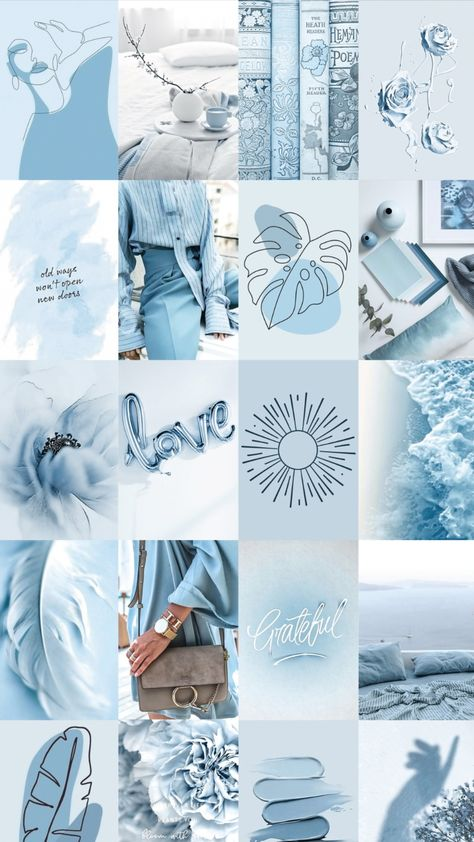Spice up your room with this Aesthetic Blue Wall Collage!
