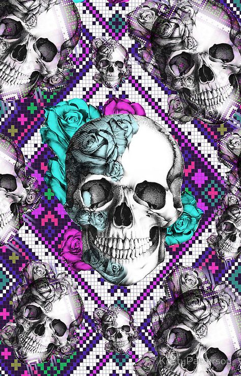 'Aztec rose skull in purple and teal.' iPhone Case by KristyPatterson