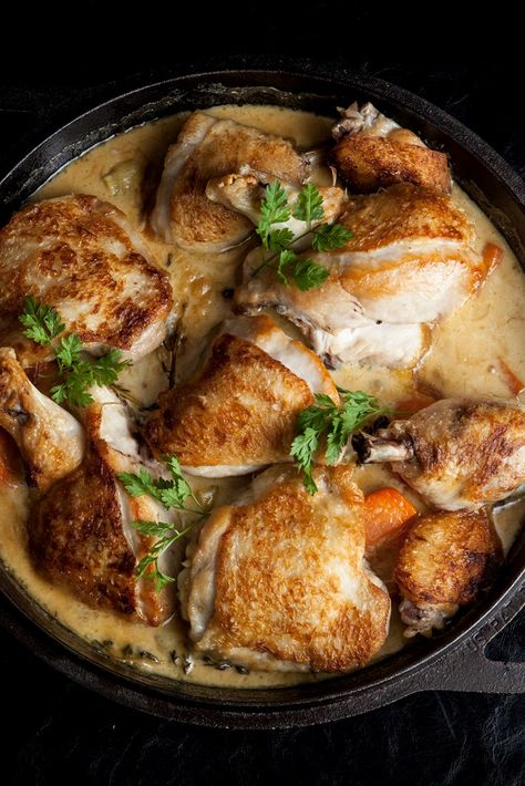 This poulet Breton recipe from chef Steve Groves is a fine example of traditional French cookery. Chicken pieces are simmered in a sauce flavoured with cider, crème fraiche and mustard. This dish is best cooked in a single pan to retain all of the flavours, and it's best to keep all the chicken pieces on the bone, as this means the meat will be moister and the sauce more flavourful. Serve with some potatoes on the side for a full meal.