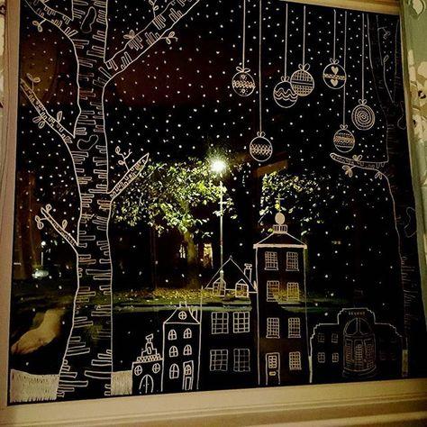 festive window art of chalk pencil. - festive window art of chalk pencil. Elegant Christmas, Christmas Home, Christmas Crafts, Christmas Windows, Simple Christmas, Window Markers, Christmas Window Decorations, Christmas Window Display Home, Display Window
